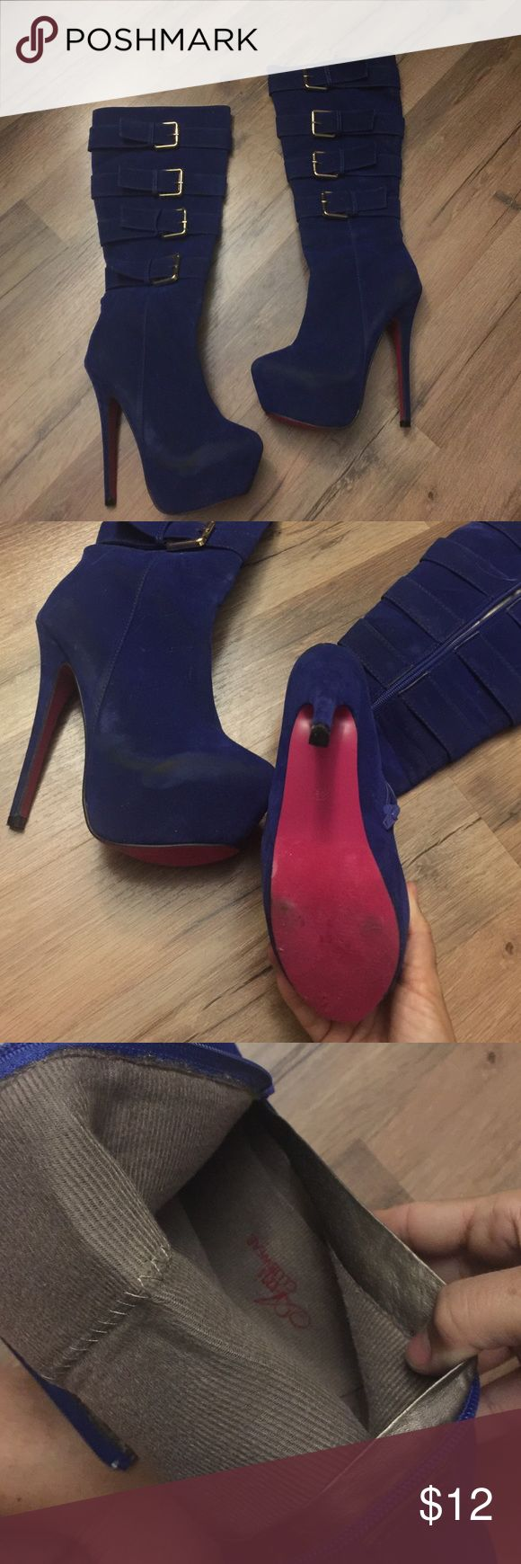 Royal blue stiletto knee high boots Brand ami club wear boots  , 6 inch heels -size 6.5 selling cheap due to the scuffing on shoe see photos - not sure if you can buff it out- but really when wearing in club does it matter ? 😋 ami clubwear Shoes Heeled Boots