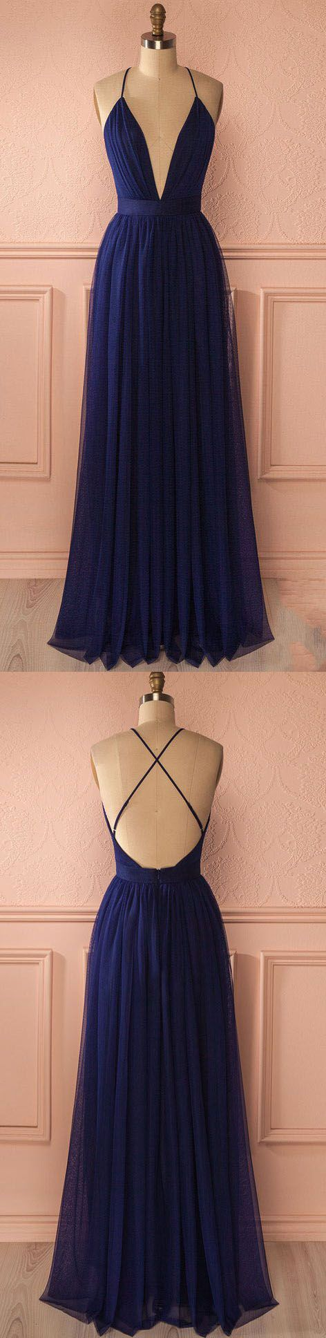 Sexy Navy V Neck Backless Prom Dress, Simple Long Evening Dress For Woman