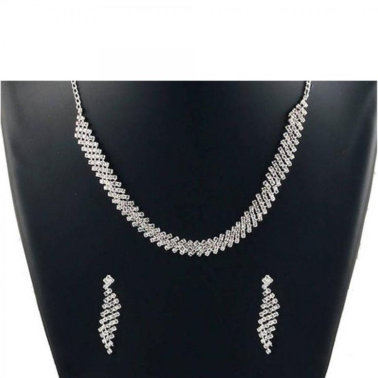 Buy White Stone Necklace Set for womens online India, Best Prices, Reviews - Peachmode