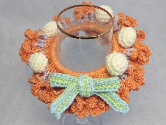 "Japanese hand kawaii shushu / Four - leaf clover Crocheted Scrunchie / Bring luck / Darkish Orenge , Purple - 4.7""(12cm) #86 by YuminaCafe, ¥1200"