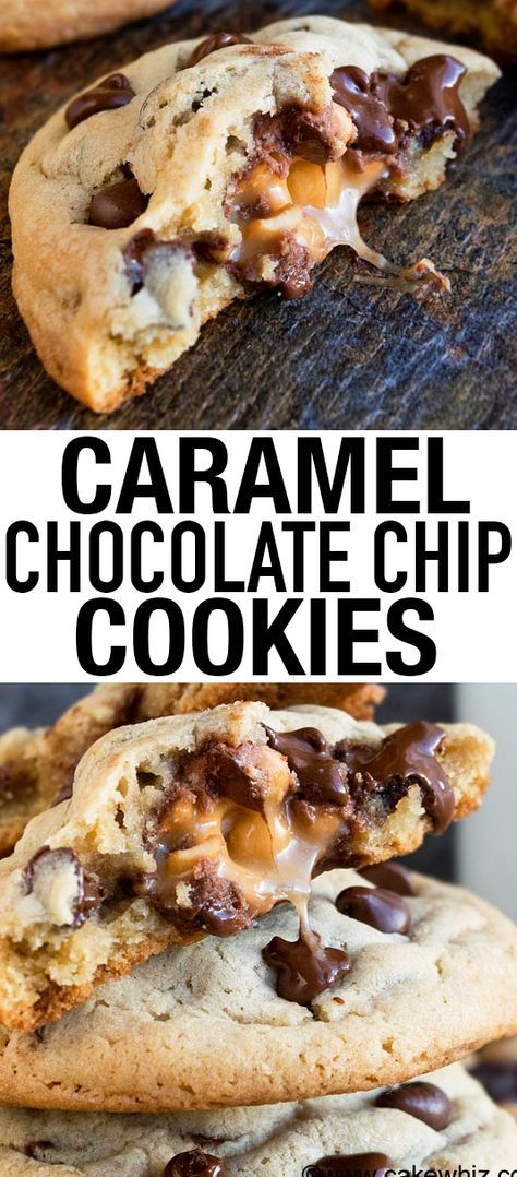 These soft and chewy easy CARAMEL CHOCOLATE CHIP COOKIES are so ooey gooey. They are huge, just like bakery style cookies and very easy to make with simple ingredients! {Ad} From cakewhiz.com