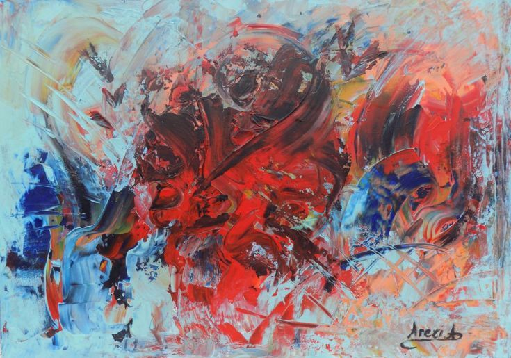 ARTFINDER: The garden of illusions 2 by Areti Ampi - Modern art painting, abstract original painting.  Click on thumbnail image and then on the image above to see close-ups.  Painting are essentially forms ...