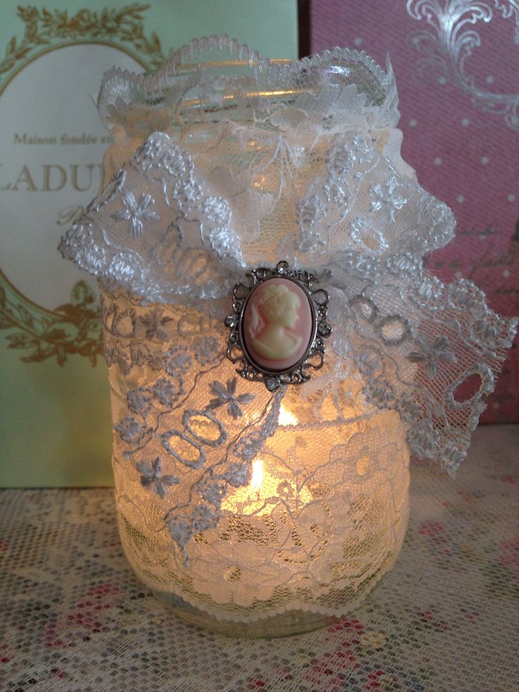 Lace candle jar