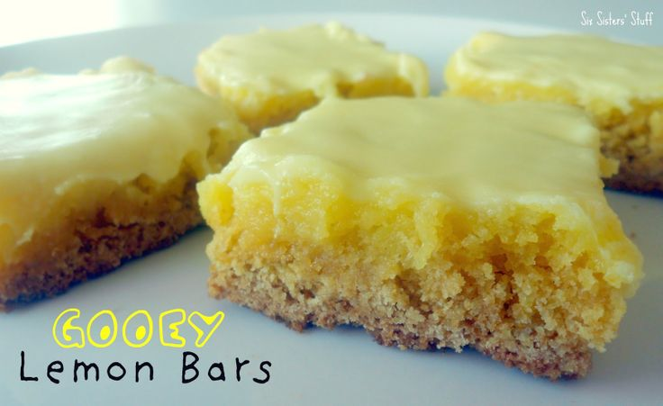 Easy Gooey Lemon Bars! So simple to make . . . main ingredient is a cake mix!: Cakes Mixed, Lemon Bars, Lemon Bar Recipe, Gooey Lemon, Favorite Bar, Bar Cookie Recipes, Cookies Recipe, Bar Cookies, Six Sisters Stuff