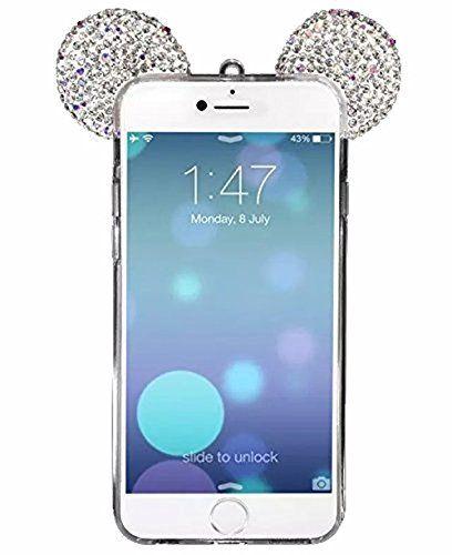 Vandot Mickey Oreilles Mouse Ears Coque pour iPhone 5 5S / TPU Bumper Design Soft Cover Girl Lady Etui Housse Case avec Bling Diamant…