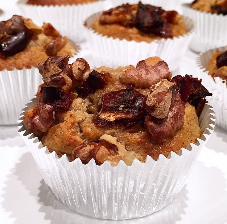 Banana Muffins With Date & Walnut Topping