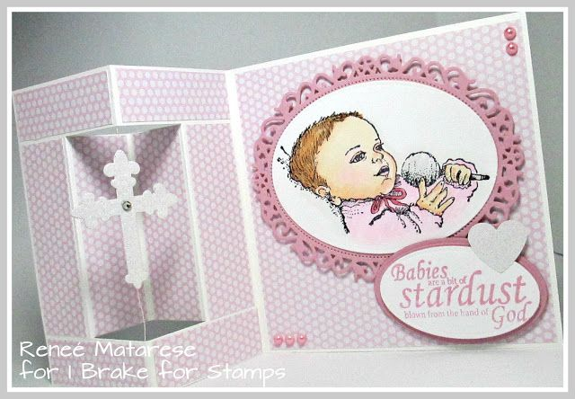 I Brake For Stamps STARDUST and BABY WITH RATTLE.  Handmade baby girl card.