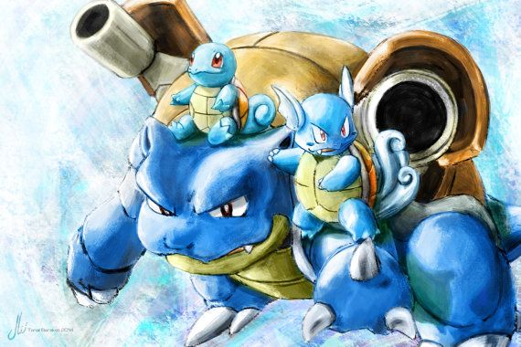 Squirtle Wartortle Blastoise  #Pokemon Poster Print by #TheArtcade at etsy.com  I'd tell these three to say it and not spray it, but they'd probably water-gun me down. Squirtle, Wartortle, and Blastoise, the full evolution set of one of the original starter Pokemon (Blue Version ftw). If you're a water type then this is the poster for you.  Enjoy!
