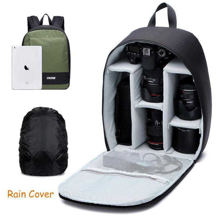 Caden Backpacks Camera Case Shoulders Bags Waterproof Men Women Digital Camera Dslr Army Green Backpack For Canon Nikon DSLR