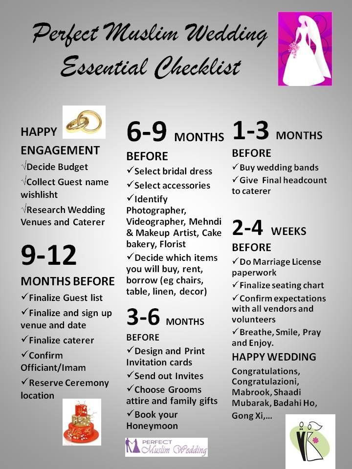 Perfect Wedding Guide Planner Checklist Timeline from Perfect Muslim Wedding #MuslimWedding, #WeddingGuide, #WeddingPlanner