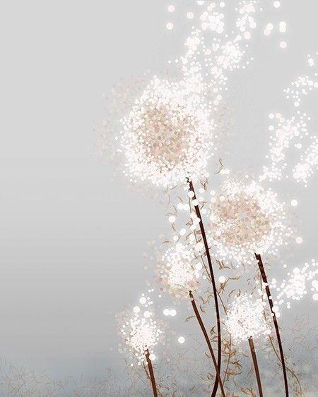 Dandelion Art Print - Perennial Moment (silver) - 8x10 - Modern Flower art, via Etsy.