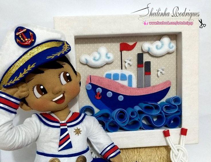 Boneco e enfeite de porta marinheiro feltro