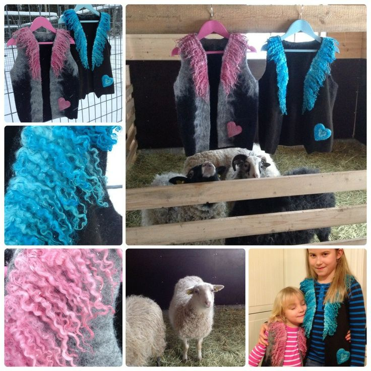 Vests made from old wool sweaters with sheep locks