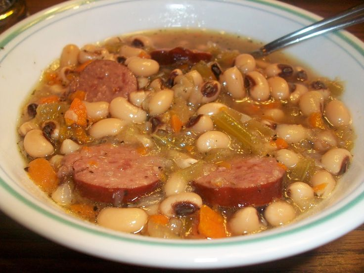 1 pound dried black eyed peas 1 pound spicy sausage (I used some kielbasa sausage) 6 cups chicken broth  1 yellow onion, diced 1 cup diced carrots 1 cup diced celery  4 cloves garlic, diced 1/2 tsp Italian seasoning  1 tsp kosher salt 1/2 tsp black pepper  Tabasco sauce (to taste...or omit!)