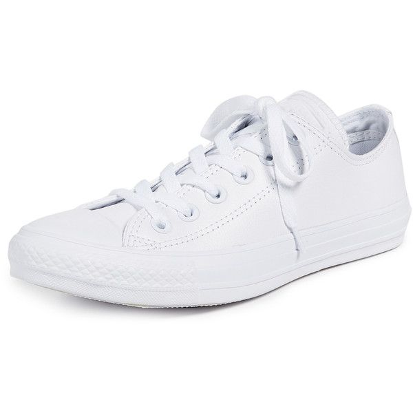 Converse Chuck Taylor All Star Sneakers ($65) ❤ liked on Polyvore featuring shoes, sneakers, white monochrome, converse trainers, converse shoes, white low top shoes, white sneakers and white lace up shoes
