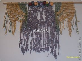 Картина панно рисунок Макраме Для прихожей Булавка английская Нитки Сутаж тесьма шнур фото 1