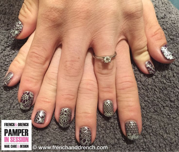 A bit of wedding practice for one of my lovely clients and bride to be! CND™ Shellac in Merstham Redhill using Rock Royalty and Creative Play Stamping.