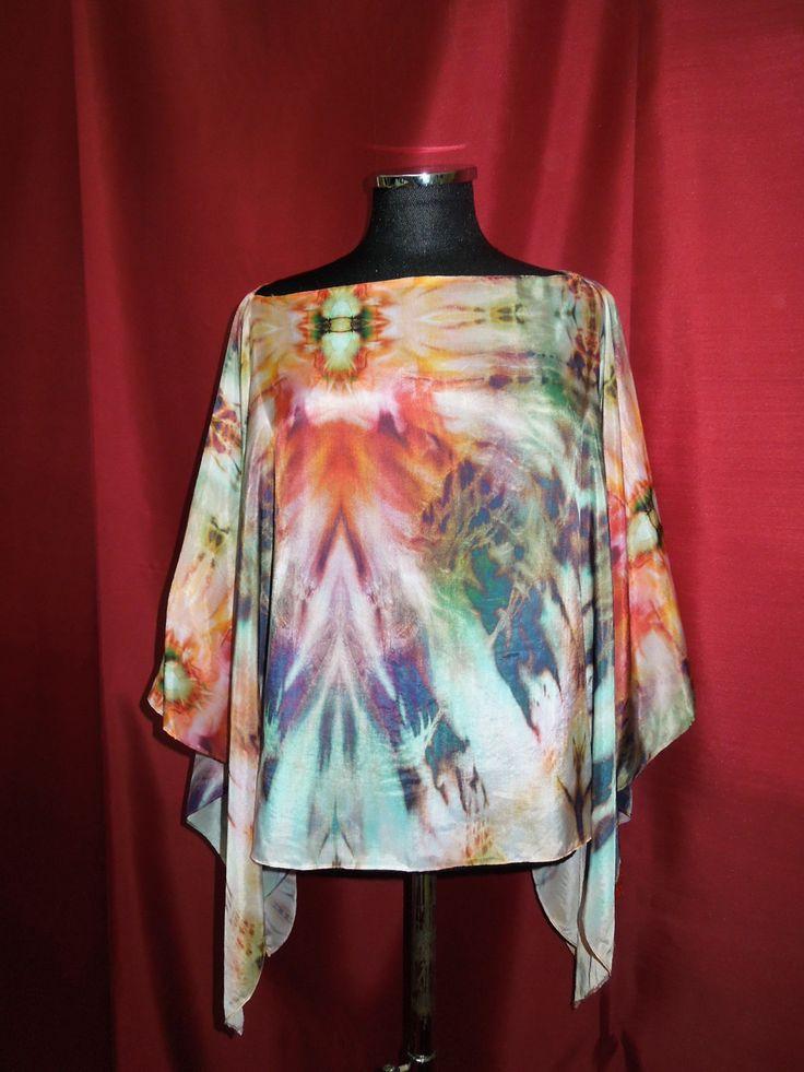 poncho,caftano seta pura stampa batik di Isolabetta su Etsy