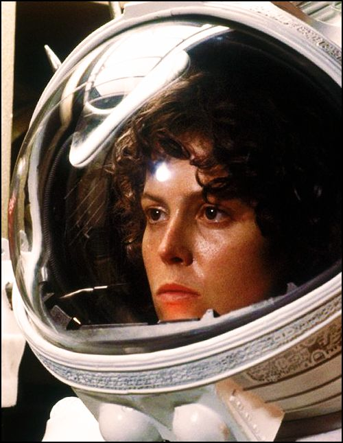 Sigourney Weaver as Ripley in Alien - she's probably the queen of sci-fi heroines and leading ladies from fighting Xenomorph aliens to hanging with the Ghostbusters to starring on Galaxy Quest to saving an alien race in an Avatar.