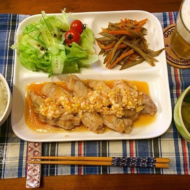 ネギダレが、絡んでたまりません꒰ ´͈ω`͈꒱ - 14件のもぐもぐ - 油淋鶏 きんぴらごぼう えのき中華スープ by hasese