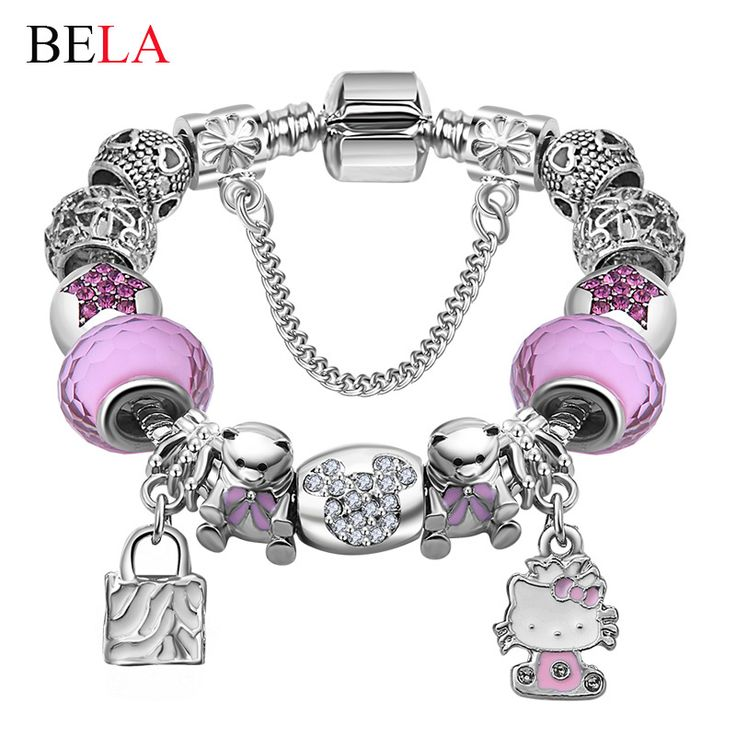 Lovely Gift Candy Styles Murano Glass Beads Kitty Pandora Bracelets