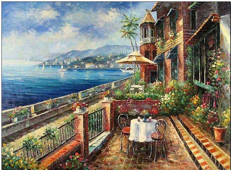Mediterranean Sea Landscapes Oil Paintings 010
