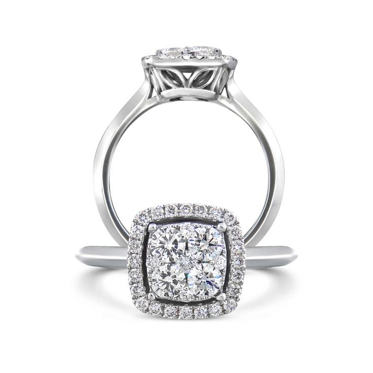 18k white gold invisible set diamond engagement ring