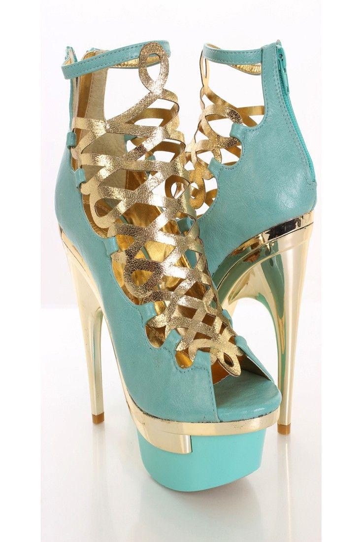 Mint Metallic Faux Leather Bootie Heels   Source: Amiclubwear.com   Price: $51.99