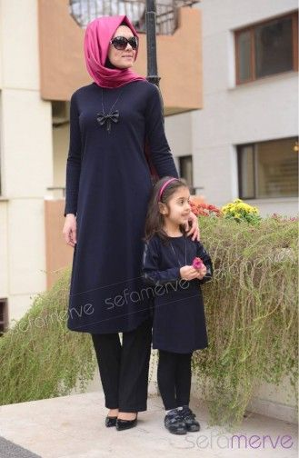 Sefamerve, Tesettür Tunik Anne Kız Kombin WB 4040-06 Lacivert