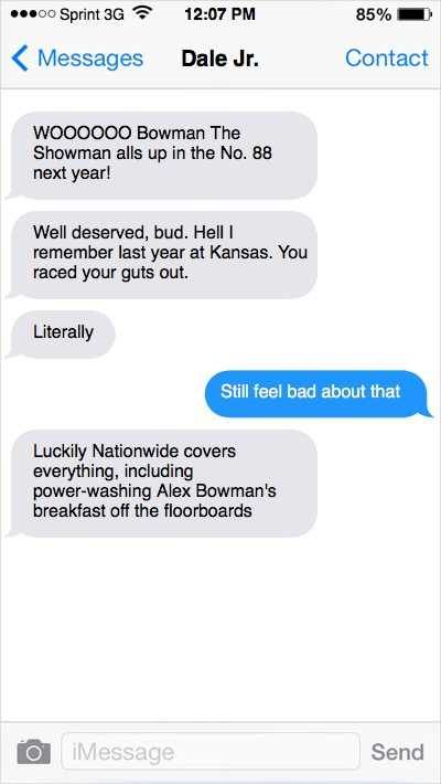 @nascarcasm: Texts to Alex Bowman on No. 88 By @nascarcasm | Thursday, July 20, 2017 Photo: 3 / 10