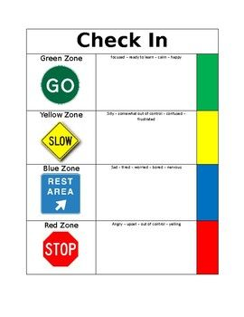 """This simple tool can be laminated and velcro used for students to do a quick Zones Check In at any point during the day. Simple place a small piece of velcro in each space next to the Zone colors, and on the back of the """"I feel..."""" bursts. You can also edit the """"I feel..."""" bursts to have student names if you have multiple students that you would like to check in."""