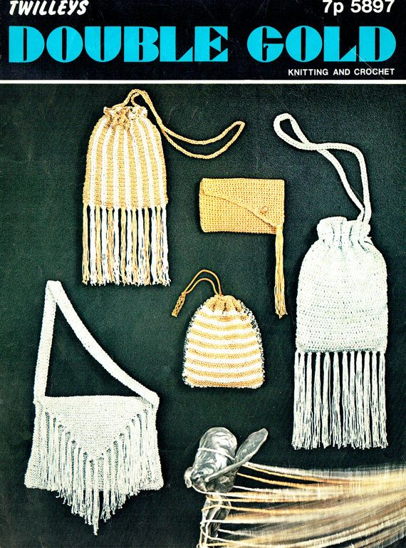 PDF Vintage 1970s Boho Handbags & Purses Knitting Crochet