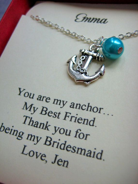 So cute. Anchor Bridesmaids Gift Necklace, Free Personalized Card Jewelry Box. Other Pearl Color Available.