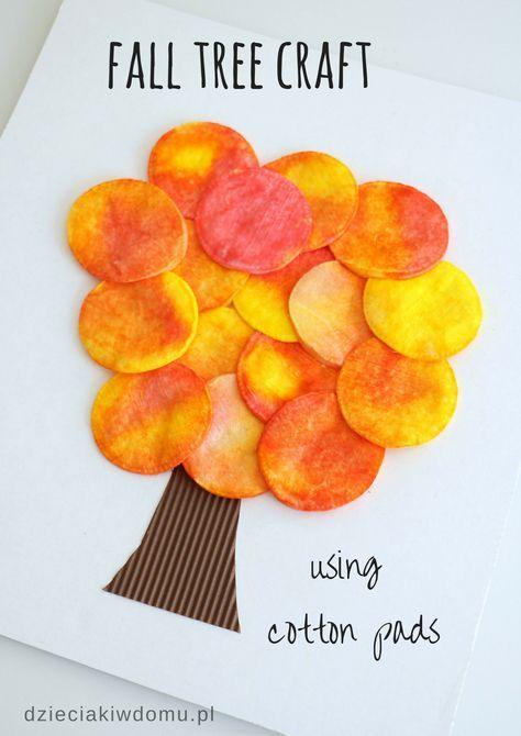 fall tree craft using cotton pads