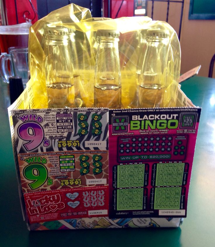 Raffle gift for Beer and Diaper party. Easy to make and everyone wanted to win it! Used $25 in scratchers, box wrapped in funny's with your choice beer.