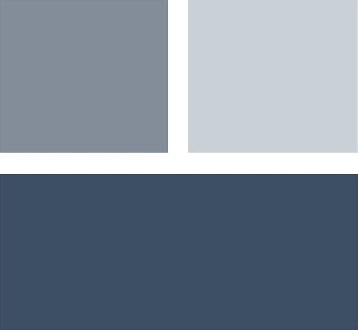 Master Bedroom ideas...If you want to make a statement with color in your bedroom but don't want anything too loud, consider a palette of deep navy blue with lighter shades of gray-blue. The result will be calm and cool. Clockwise from top left (all from Benjamin Moore): Mineral Alloy 1622, Silver Mist 1619 and Hudson Bay 1680.