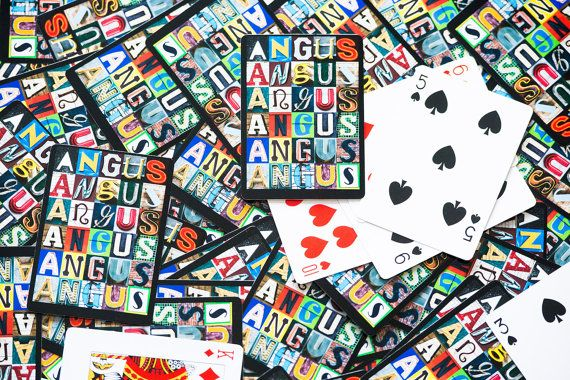 Personalized Playing Cards featuring any name spelled out in letters from actual signs - by SignYourNames #playingcards #giftideas