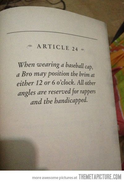 Favorite article on The Bro Code…
