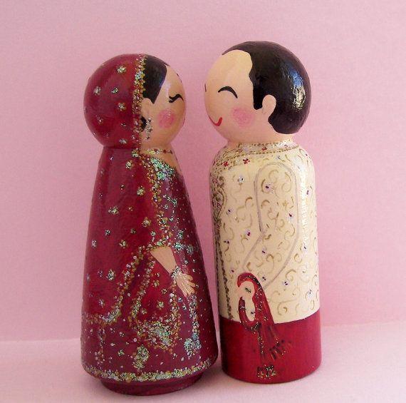 Hand Painted Love Boxes Custom Wedding Cake Toppers in Lengha & Sherwani by www.handpaintedloveboxes.etsy.com