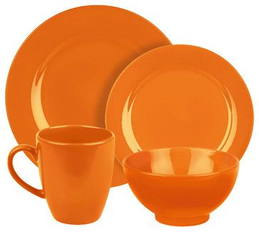 Fun Factory Place Setting, Orange, 4 Piece traditional dinnerware sets
