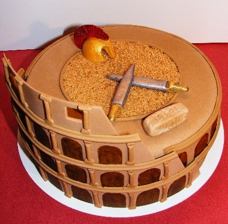 colosseum gladiator cake for julius * made by http://www.facebook.com/KirstensTaartDromein