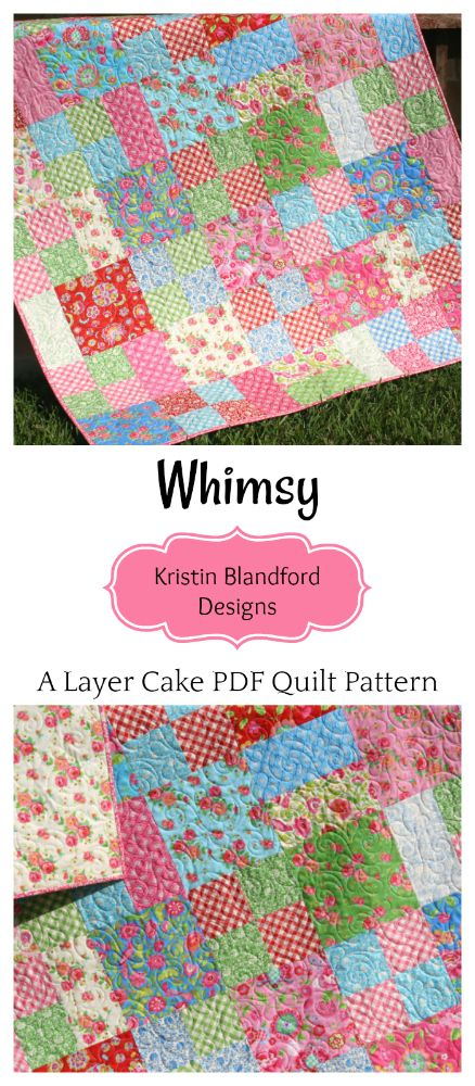 Whimsy Quilt Pattern, Layer Cake Quilt Pattern, Four Patch Look, Easy Quick Fun Pre-cut Quilt Pattern, Moda Fabrics Gypsy Girls Fabrics, Baby Quilt Pattern, Lap Throw Quilt Pattern by Kristin Blandford Designs #quilting #pdfquiltpatterns #layercakepattern #layercake #quilts