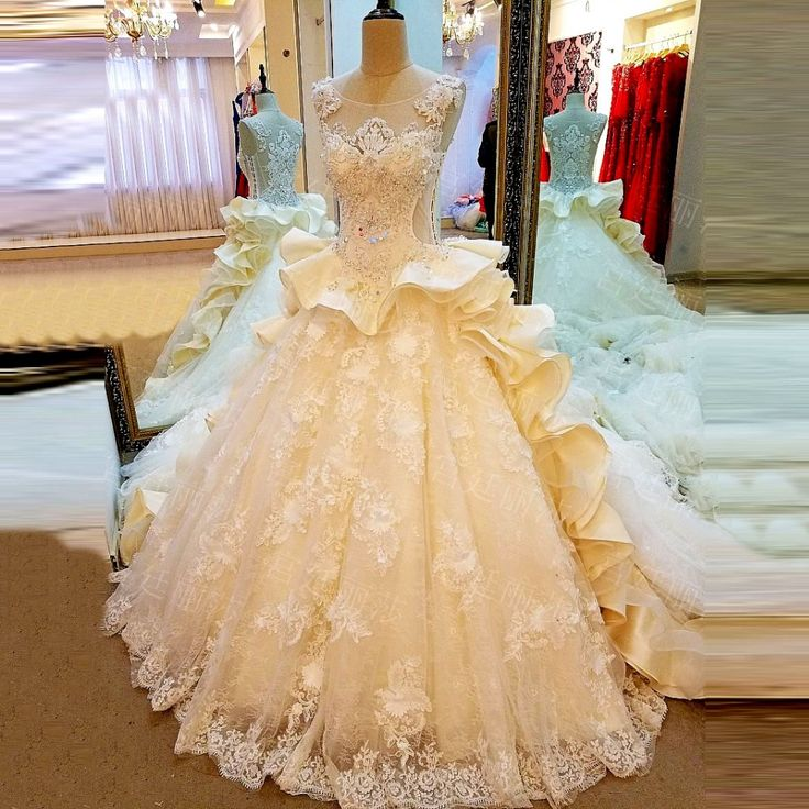 Find More Wedding Dresses Information about Luxury Princess Cathedral Train Beaded Lace Wedding Dresses 2017 Ruffled Bridal Gown vestido de noiva de renda Custom Made XW219,High Quality dress for success women,China dress first Suppliers, Cheap dress skirt from do dower LaceBridal Store on Aliexpress.com