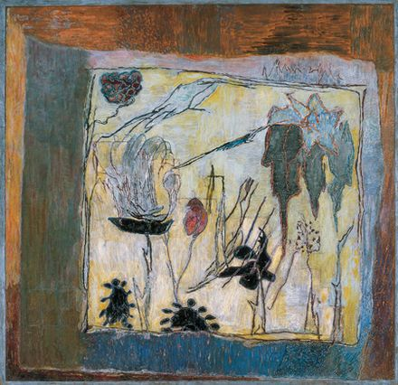 Tőrös művirág, 1974, olaj, falemez, 61 x 61 cm, Magyar Nemzeti Galéria