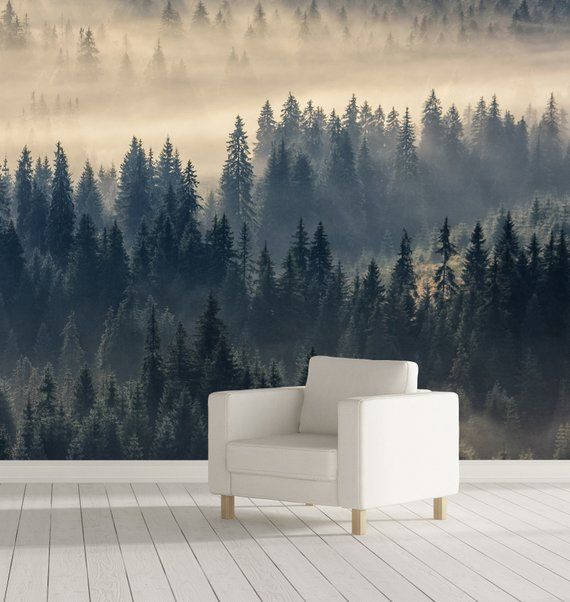 Misty Forest Wall Mural Self Adhesive Nature Mural Nature