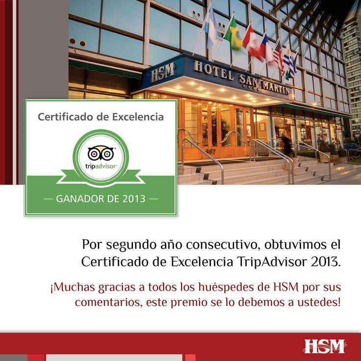 Al Certificado de Excelencia obtenido el 2012, se le suma este año nuestro segundo reconocimiento en TripAdvisor por alcanzar y conservar una positiva valoración por parte de los viajeros que visitan la página de #HSM en esta red.   http://www.tripadvisor.es/Hotel_Review-g295425-d562603-Reviews-Hotel_San_Martin-Vina_del_Mar_Valparaiso_Region.html  ¡Muchas gracias!  #Turismo #TripAdvisor #Chile #Turismo #VinadelMar #HSM #HSMChile #Certificado #ThisisChile #Hoteleria