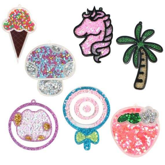 5pcs Kwaii Shaker Sequins Unicorn Ice Cream Acrylic Flat Back With Hole Charm Shaker Quicksand Acrylic Pendant Confetti Filled Unicorn Ice Cream Crafts Arts And Crafts Projects