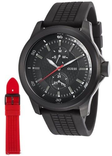 GUESS Men's W12656G1 Multi-Function Extra Strap Black Rubber Watch