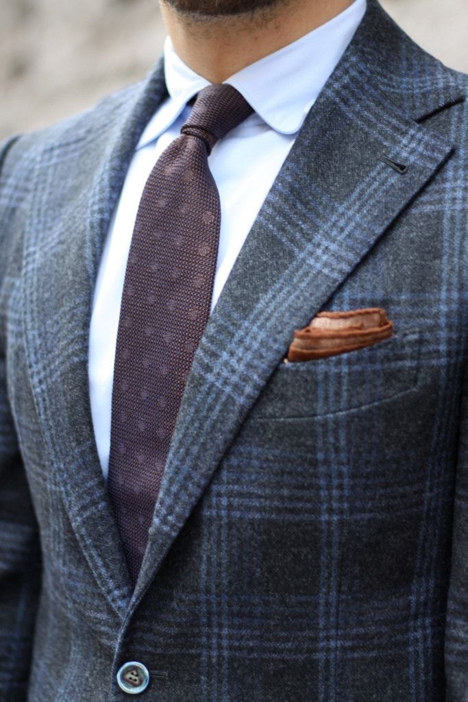 Gray flannel suit with brown overcoat - light-blue-oxford-shirt-with-soft-semi-spread-collar-and-grenadine-tie