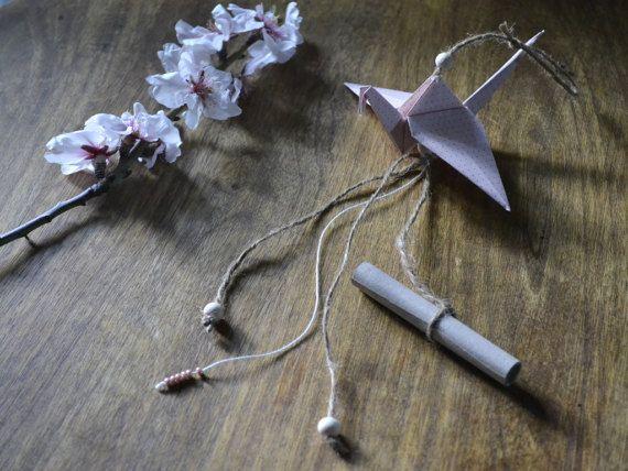 Origami girl invitation origami crane  baby girl by Loulalalou